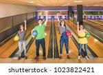 best friends posing in victory... | Shutterstock . vector #1023822421