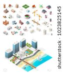 build your own isometric city . ... | Shutterstock .eps vector #1023825145
