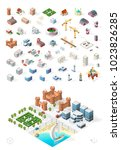 build your own isometric city . ...   Shutterstock .eps vector #1023826285
