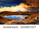 high altitude scenic mountain... | Shutterstock . vector #1023827227
