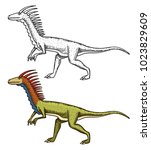 dinosaurs deinonychus ... | Shutterstock .eps vector #1023829609