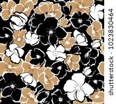 Stock vector dark floral seamless pattern blooming hand drawning flowers botanical seamless vector texture 1023830464