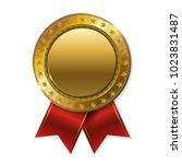 realistic 3d gold trophy... | Shutterstock .eps vector #1023831487