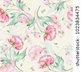 seamless peony pattern with... | Shutterstock . vector #1023834475