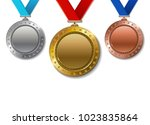 set of realistic 3d champion... | Shutterstock .eps vector #1023835864