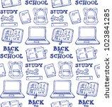 hand drawn doodle school... | Shutterstock .eps vector #1023841285