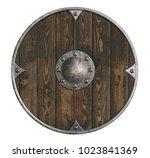 old wooden vikings' shield...   Shutterstock . vector #1023841369