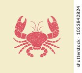 stylized image of a crab. flat... | Shutterstock .eps vector #1023842824