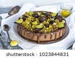 raw vegan chocolate cheesecake... | Shutterstock . vector #1023844831