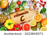 vitamin c in fruits and... | Shutterstock . vector #1023845071