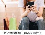 young woman hands using... | Shutterstock . vector #1023845944