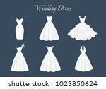 beautiful wedding dress. flat... | Shutterstock .eps vector #1023850624