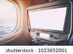 empty white mockups of aircraft ... | Shutterstock . vector #1023852001