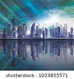 night city skyline with... | Shutterstock . vector #1023855571