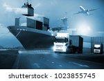 transportation  import export...   Shutterstock . vector #1023855745