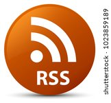 rss isolated on brown round... | Shutterstock . vector #1023859189
