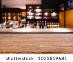 table top counter bar with wine ... | Shutterstock . vector #1023859681
