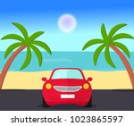 car standing on the road  near... | Shutterstock .eps vector #1023865597