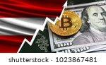 flag of austria and bitcoin... | Shutterstock . vector #1023867481