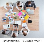 business people sitting and... | Shutterstock . vector #1023867934