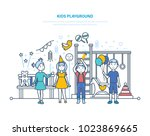 kids playground concept. little ... | Shutterstock .eps vector #1023869665