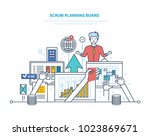scrum planning board with tasks.... | Shutterstock .eps vector #1023869671