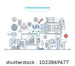 optimization work time. working ... | Shutterstock .eps vector #1023869677