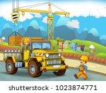 cartoon scene with worker busy... | Shutterstock . vector #1023874771