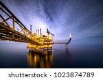 a huge yellow of offshore oil... | Shutterstock . vector #1023874789