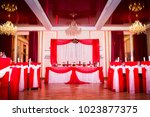 decoration of the banquet hall... | Shutterstock . vector #1023877375