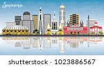 samara russia city skyline with ... | Shutterstock .eps vector #1023886567