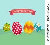 easter eggs background | Shutterstock .eps vector #1023886657