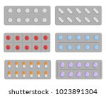 set of pills in blister  vector ... | Shutterstock .eps vector #1023891304