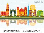 sucre skyline with color... | Shutterstock .eps vector #1023893974