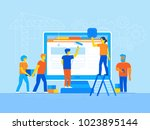 vector illustration in trendy... | Shutterstock .eps vector #1023895144