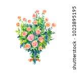 watercolor bouquet of pink... | Shutterstock . vector #1023895195
