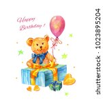 watercolor birthday... | Shutterstock . vector #1023895204