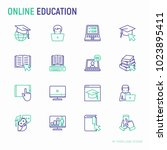 online education thin line... | Shutterstock .eps vector #1023895411
