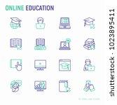 online education thin line... | Shutterstock .eps vector #1023895411