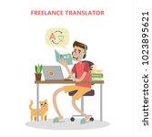 isolated freelance translator... | Shutterstock . vector #1023895621