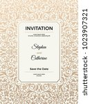 vintage wedding invitation... | Shutterstock .eps vector #1023907321