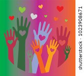 hands with hearts up.icon of... | Shutterstock .eps vector #1023908671