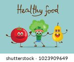 cartoon funny tomato broccoli... | Shutterstock .eps vector #1023909649