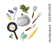 a set for cooking  eggs ...   Shutterstock .eps vector #1023911029