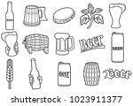 beer line icons set  hop... | Shutterstock .eps vector #1023911377