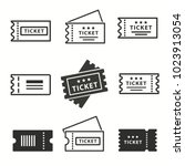 ticket vector icons set. black... | Shutterstock .eps vector #1023913054