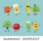funny happy breakfast  healthy... | Shutterstock .eps vector #1023913117
