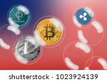 cryptocurrency coins in a soap... | Shutterstock . vector #1023924139