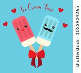 ice cream cute valentines day... | Shutterstock .eps vector #1023924265