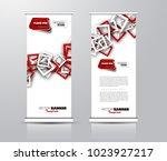 roll up template. vertical... | Shutterstock .eps vector #1023927217